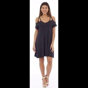 Charcoal Cold Shoulder Dress w/pocket